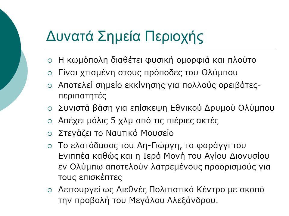  Κατά τους μήνες Φεβρουάριο-Μάρτιο πραγματοποιούνται εκδηλώσεις εν όψει του καρναβαλιού  Την Καθαρά Δευτέρα γίνεται διαγωνισμός χαρταετού  Τον Ιούλιο λαμβάνουν χώρα τα Θερινά του δήμου με χορωδίες και χορευτικά από όλη την Ελλάδα  Το μήνα Αύγουστο διοργανώνονται τα Ολύμπια, αγώνες στίβου και ανωμάλου δρόμου  Διαθέτει γραφικές ταβέρνες και καφετέριες με θέα τον Όλυμπο  Ύπαρξη δρομολογίων με ΚΤΕΛ από Θεσσαλονίκη και Κατερίνη και μέσω σιδηροδρομικής γραμμής από Αθήνα