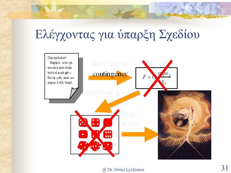 @ Dr. Heinz Lycklama 31 Ελέγχοντας για ύπαρξη Σχεδίου