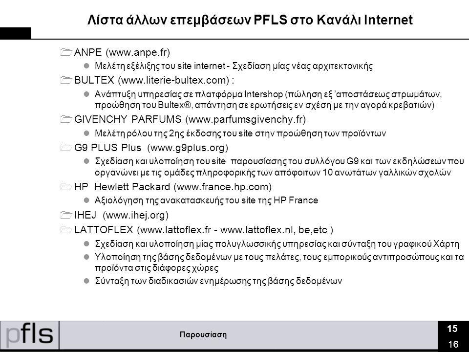 Παρουσίαση 15 16 Λίστα άλλων επεμβάσεων PFLS στο Κανάλι Ιnternet  ANPE (www.anpe.fr)  Μελέτη εξέλιξης του site internet - Σχεδίαση μίας νέας αρχιτεκτονικής  BULTEX (www.literie-bultex.com) :  Ανάπτυξη υπηρεσίας σε πλατφόρμα Intershop (πώληση εξ 'αποστάσεως στρωμάτων, προώθηση του Bultex®, απάντηση σε ερωτήσεις εν σχέση με την αγορά κρεβατιών)  GIVENCHY PARFUMS (www.parfumsgivenchy.fr)  Μελέτη ρόλου της 2ης έκδοσης του site στην προώθηση των προϊόντων  G9 PLUS Plus (www.g9plus.org)  Σχεδίαση και υλοποίηση του site παρουσίασης του συλλόγου G9 και των εκδηλώσεων που οργανώνει με τις ομάδες πληροφορικής των απόφοιτων 10 ανωτάτων γαλλικών σχολών  HP Hewlett Packard (www.france.hp.com)  Αξιολόγηση της ανακατασκευής του site της HP France  IHEJ (www.ihej.org)  LATTOFLEX (www.lattoflex.fr - www.lattoflex.nl, be,etc )  Σχεδίαση και υλοποίηση μίας πολυγλωσσικής υπηρεσίας και σύνταξη του γραφικού Χάρτη  Υλοποίηση της βάσης δεδομένων με τους πελάτες, τους εμπορικούς αντιπροσώπους και τα προϊόντα στις διάφορες χώρες  Σύνταξη των διαδικασιών ενημέρωσης της βάσης δεδομένων