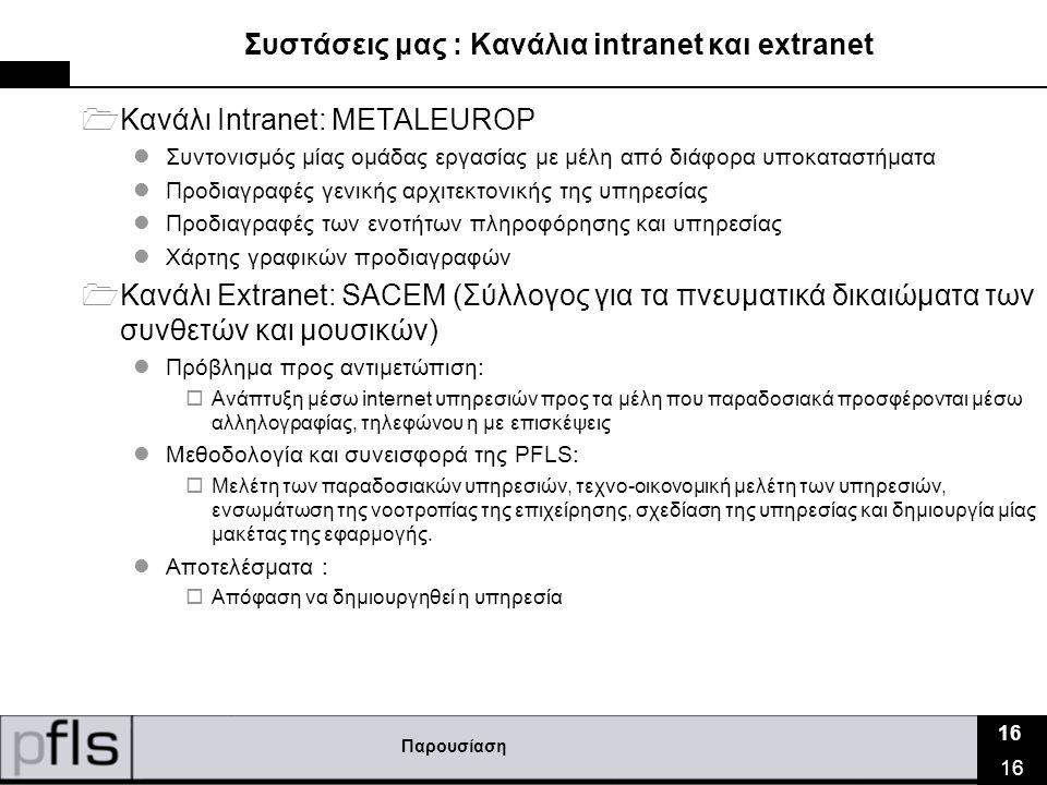 Παρουσίαση 16 Συστάσεις μας : Κανάλια intranet και extranet  Κανάλι Intranet: METALEUROP  Συντονισμός μίας ομάδας εργασίας με μέλη από διάφορα υποκαταστήματα  Προδιαγραφές γενικής αρχιτεκτονικής της υπηρεσίας  Προδιαγραφές των ενοτήτων πληροφόρησης και υπηρεσίας  Χάρτης γραφικών προδιαγραφών  Κανάλι Extranet: SACEM (Σύλλογος για τα πνευματικά δικαιώματα των συνθετών και μουσικών)  Πρόβλημα προς αντιμετώπιση:  Ανάπτυξη μέσω internet υπηρεσιών προς τα μέλη που παραδοσιακά προσφέρονται μέσω αλληλογραφίας, τηλεφώνου η με επισκέψεις  Μεθοδολογία και συνεισφορά της PFLS:  Μελέτη των παραδοσιακών υπηρεσιών, τεχνο-οικονομική μελέτη των υπηρεσιών, ενσωμάτωση της νοοτροπίας της επιχείρησης, σχεδίαση της υπηρεσίας και δημιουργία μίας μακέτας της εφαρμογής.