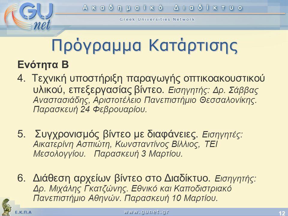 Ε.Κ.Π.Α 12 Πρόγραμμα Κατάρτισης Ενότητα Β 4.