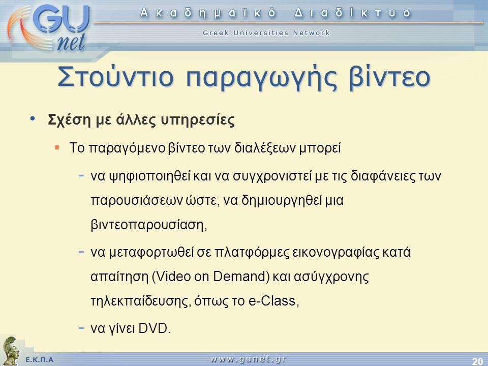 Ε.Κ.Π.Α 20 Στούντιο παραγωγής βίντεο • Σχέση με άλλες υπηρεσίες  Το παραγόμενο βίντεο των διαλέξεων μπορεί - να ψηφιοποιηθεί και να συγχρονιστεί με τις διαφάνειες των παρουσιάσεων ώστε, να δημιουργηθεί μια βιντεοπαρουσίαση, - να μεταφορτωθεί σε πλατφόρμες εικονογραφίας κατά απαίτηση (Video on Demand) και ασύγχρονης τηλεκπαίδευσης, όπως το e-Class, - να γίνει DVD.
