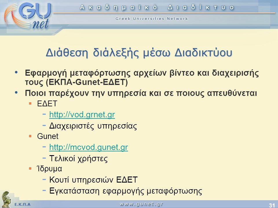 Ε.Κ.Π.Α 31 Διάθεση διάλεξής μέσω Διαδικτύου • Εφαρμογή μεταφόρτωσης αρχείων βίντεο και διαχειρισής τους (ΕΚΠΑ-Gunet-EΔΕΤ) • Ποιοι παρέχουν την υπηρεσία και σε ποιους απευθύνεται  ΕΔΕΤ - http://vod.grnet.gr http://vod.grnet.gr - Διαχειριστές υπηρεσίας  Gunet - http://mcvod.gunet.gr http://mcvod.gunet.gr - Τελικοί χρήστες  Ίδρυμα - Κουτί υπηρεσιών ΕΔΕΤ - Εγκατάσταση εφαρμογής μεταφόρτωσης