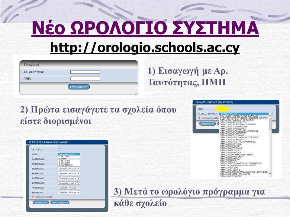 Νέο ΩΡΟΛΟΓΙΟ ΣΥΣΤΗΜΑ http://orologio.schools.ac.cy 2) Πρώτα εισαγάγετε τα σχολεία όπου είστε διορισμένοι 3) Μετά το ωρολόγιο πρόγραμμα για κάθε σχολείο 1) Εισαγωγή με Αρ.