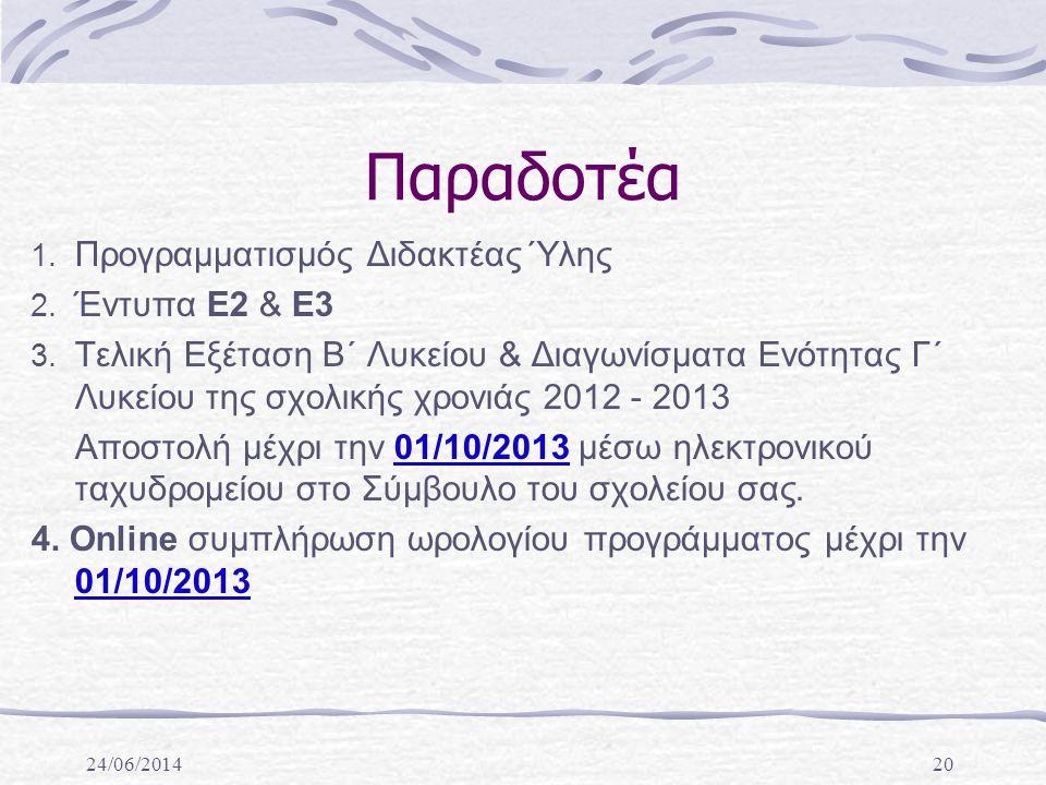 24/06/201420 Παραδοτέα 1.Προγραμματισμός Διδακτέας Ύλης 2.