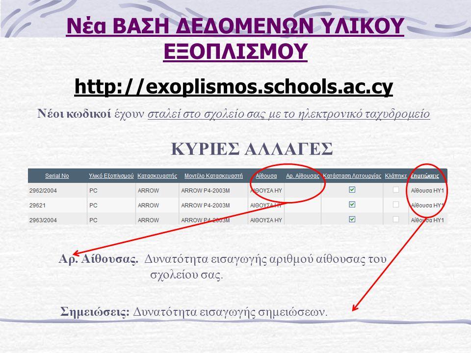 Νέα ΒΑΣΗ ΔΕΔΟΜΕΝΩΝ ΥΛΙΚΟΥ ΕΞΟΠΛΙΣΜΟΥ http://exoplismos.schools.ac.cy Νέοι κωδικοί έχουν σταλεί στο σχολείο σας με το ηλεκτρονικό ταχυδρομείο ΚΥΡΙΕΣ ΑΛΛΑΓΕΣ Αρ.
