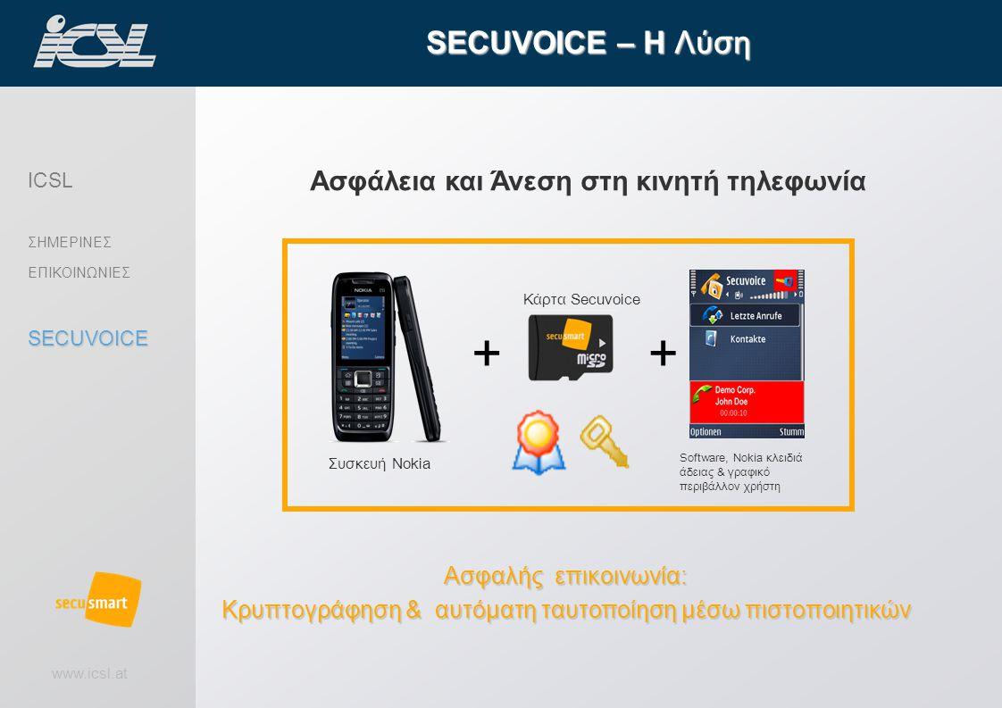 www.icsl.at Ασφάλεια και Άνεση στη κινητή τηλεφωνία SECUVOICE – Η Λύση Ασφαλής επικοινωνία: Κρυπτογράφηση & αυτόματη ταυτοποίηση μέσω πιστοποιητικών Κάρτα Secuvoice Software, Nokia κλειδιά άδειας & γραφικό περιβάλλον χρήστη Συσκευή Nokia ++ ICSL ΣΗΜΕΡΙΝΕΣ ΕΠΙΚΟΙΝΩΝΙΕΣSECUVOICE