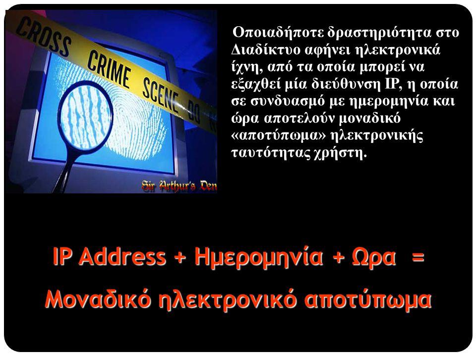 Οποιαδήποτε δραστηριότητα στο Διαδίκτυο αφήνει ηλεκτρονικά ίχνη, από τα οποία μπορεί να εξαχθεί μία διεύθυνση ΙΡ, η οποία σε συνδυασμό με ημερομηνία κ
