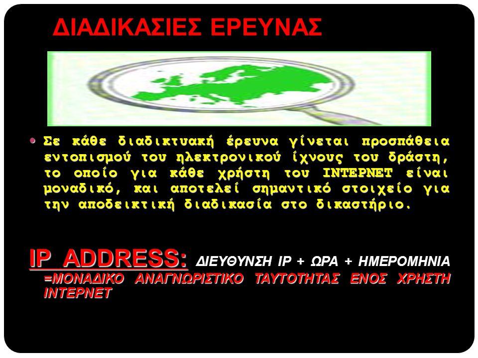 ΔΙΑΔΙΚΑΣΙΕΣ ΕΡΕΥΝΑΣ  Σε κάθε διαδικτυακή έρευνα γίνεται προσπάθεια εντοπισμού του ηλεκτρονικού ίχνους του δράστη, το οποίο για κάθε χρήστη του ΙΝΤΕΡΝ