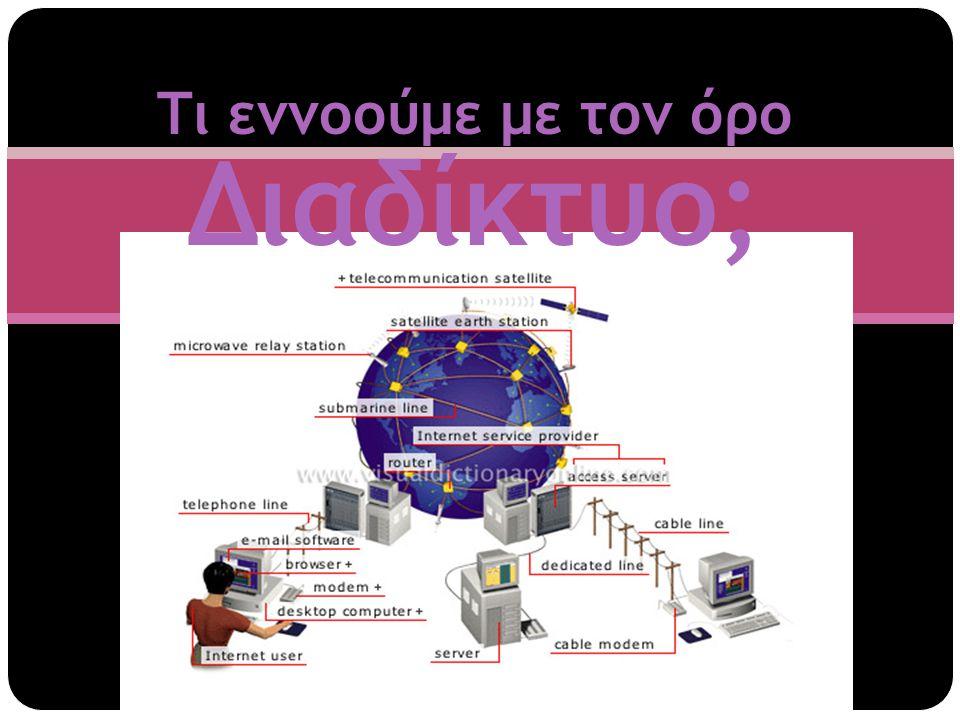  ΔΙΑΔΙΚΤΥΟ - Είναι ένα παγκόσμιο δίκτυο που αποτελείται από εκατομμύρια υπολογιστές διασυνδεδεμένους- δικτυωμένους.
