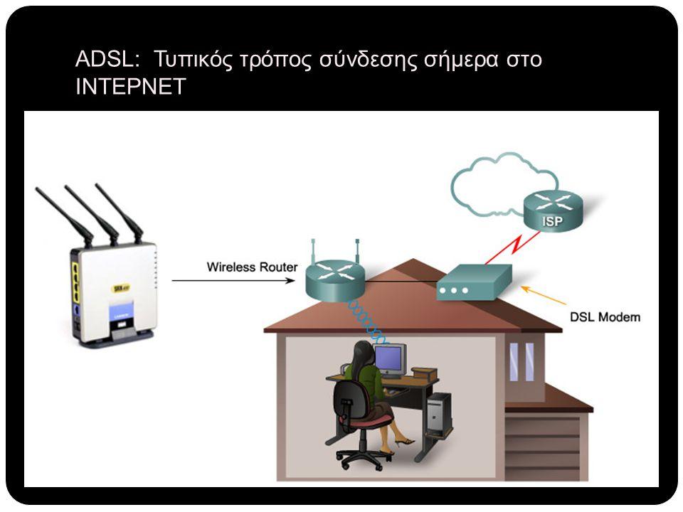 ADSL: Τυπικός τρόπος σύνδεσης σήμερα στο ΙΝΤΕΡΝΕΤ