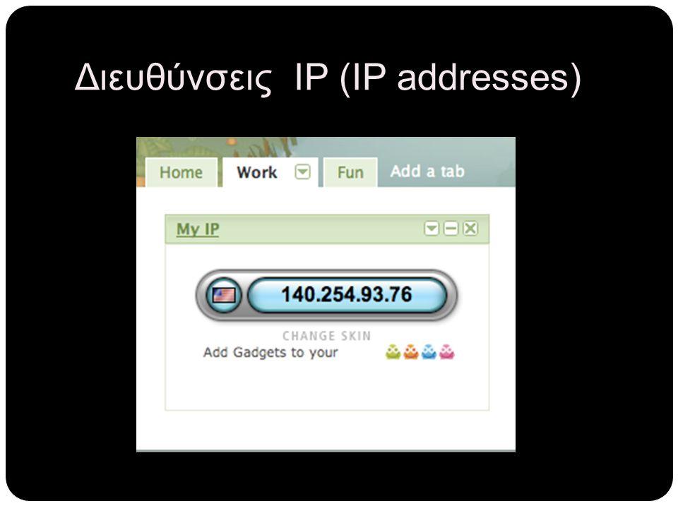 Διευθύνσεις ΙΡ (IP addresses)