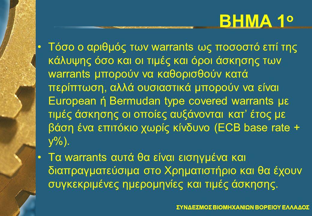 ΣΥΝΔΕΣΜΟΣ ΒΙΟΜΗΧΑΝΙΩΝ ΒΟΡΕΙΟΥ ΕΛΛΑΔΟΣ ΒΗΜΑ 1 ο •Τόσο ο αριθμός των warrants ως ποσοστό επί της κάλυψης όσο και οι τιμές και όροι άσκησης των warrants μπορούν να καθορισθούν κατά περίπτωση, αλλά ουσιαστικά μπορούν να είναι Εuropean ή Bermudan type covered warrants με τιμές άσκησης οι οποίες αυξάνονται κατ' έτος με βάση ένα επιτόκιο χωρίς κίνδυνο (ECB base rate + y%).