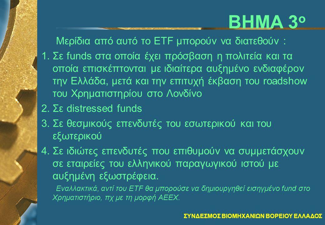 ΣΥΝΔΕΣΜΟΣ ΒΙΟΜΗΧΑΝΙΩΝ ΒΟΡΕΙΟΥ ΕΛΛΑΔΟΣ ΒΗΜΑ 3 ο Μερίδια από αυτό το ETF μπορούν να διατεθούν : 1.Σε funds στα οποία έχει πρόσβαση η πολιτεία και τα οποία επισκέπτονται με ιδιαίτερα αυξημένο ενδιαφέρον την Ελλάδα, μετά και την επιτυχή έκβαση του roadshow του Χρηματιστηρίου στο Λονδίνο 2.Σε distressed funds 3.Σε θεσμικούς επενδυτές του εσωτερικού και του εξωτερικού 4.Σε ιδιώτες επενδυτές που επιθυμούν να συμμετάσχουν σε εταιρείες του ελληνικού παραγωγικού ιστού με αυξημένη εξωστρέφεια.