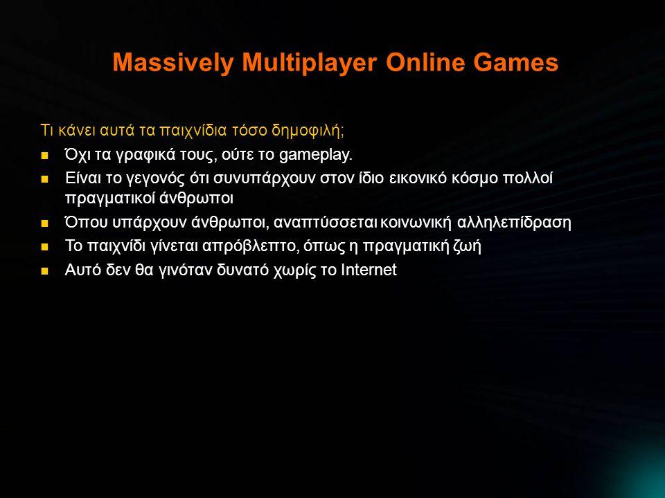 Massively Multiplayer Online Games Τι κάνει αυτά τα παιχνίδια τόσο δημοφιλή;  Όχι τα γραφικά τους, ούτε το gameplay.  Είναι το γεγονός ότι συνυπάρχο