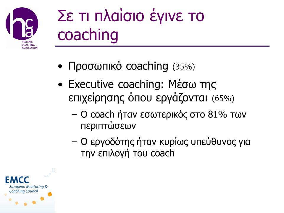 Σε τι πλαίσιο έγινε το coaching •Προσωπικό coaching (35%) •Executive coaching: Mέσω της επιχείρησης όπου εργάζονται (65%) –O coach ήταν εσωτερικός στο 81% των περιπτώσεων –Ο εργοδότης ήταν κυρίως υπεύθυνος για την επιλογή του coach