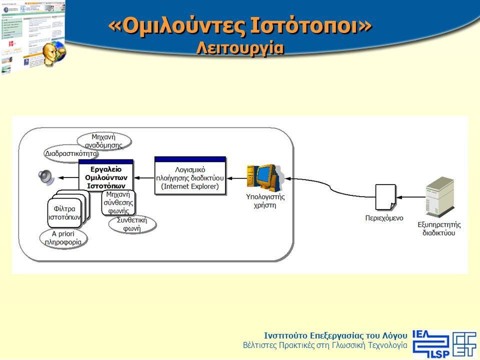 Ινστιτούτο Επεξεργασίας του Λόγου Βέλτιστες Πρακτικές στη Γλωσσική Τεχνολογία 1.