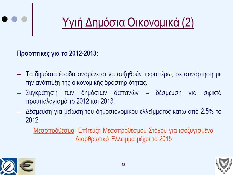 22 Υγιή Δημόσια Οικονομικά (2) Προοπτικές για το 2012-2013: – Τα δημόσια έσοδα αναμένεται να αυξηθούν περαιτέρω, σε συνάρτηση με την ανάπτυξη της οικο