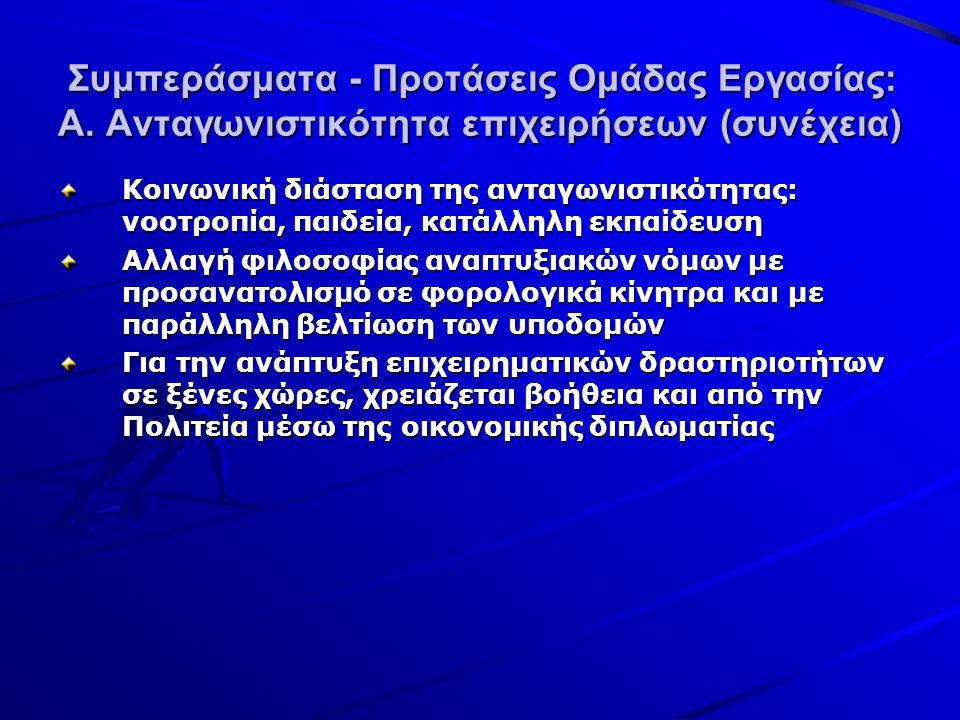 Συμπεράσματα - Προτάσεις Ομάδας Εργασίας: Α.