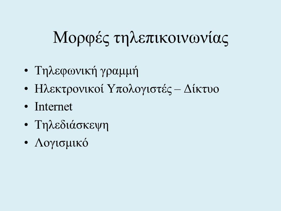 Μορφές τηλεπικοινωνίας •Τηλεφωνική γραμμή •Ηλεκτρονικοί Υπολογιστές – Δίκτυο •Internet •Τηλεδιάσκεψη •Λογισμικό
