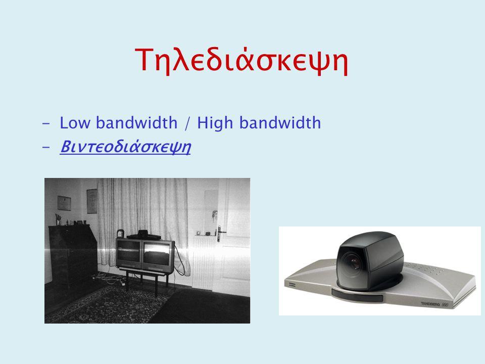 Τηλεδιάσκεψη -Low bandwidth / High bandwidth -Βιντεοδιάσκεψη