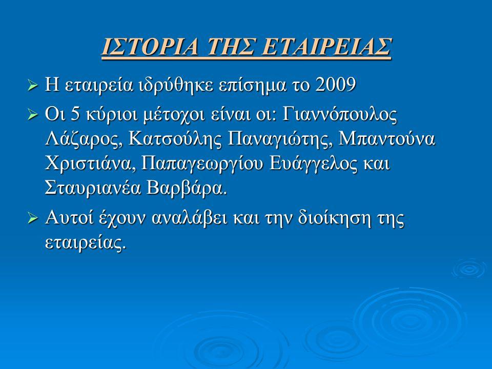 ΙΣΤΟΡΙΑ ΤΗΣ ΕΤΑΙΡΕΙΑΣ  Η εταιρεία ιδρύθηκε επίσημα το 2009  Οι 5 κύριοι μέτοχοι είναι οι: Γιαννόπουλος Λάζαρος, Κατσούλης Παναγιώτης, Μπαντούνα Χρισ