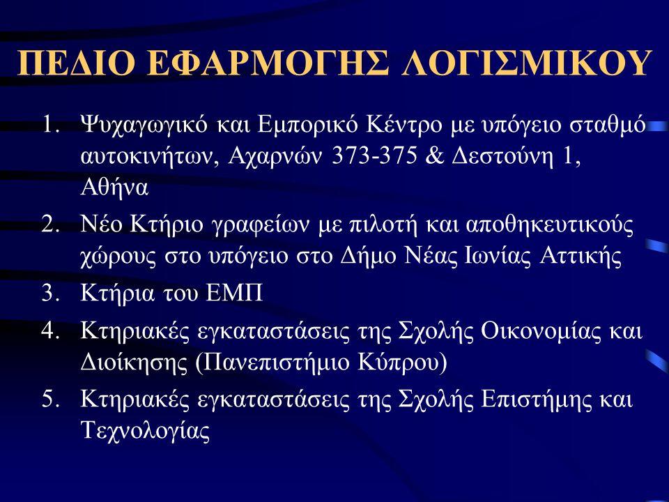 ΠΕΔΙΟ ΕΦΑΡΜΟΓΗΣ ΛΟΓΙΣΜΙΚΟΥ 1.Ψυχαγωγικό και Εμπορικό Κέντρο με υπόγειο σταθμό αυτοκινήτων, Αχαρνών 373-375 & Δεστούνη 1, Αθήνα 2.Νέο Κτήριο γραφείων με πιλοτή και αποθηκευτικούς χώρους στο υπόγειο στο Δήμο Νέας Ιωνίας Αττικής 3.Κτήρια του ΕΜΠ 4.Κτηριακές εγκαταστάσεις της Σχολής Οικονομίας και Διοίκησης (Πανεπιστήμιο Κύπρου) 5.Κτηριακές εγκαταστάσεις της Σχολής Επιστήμης και Τεχνολογίας