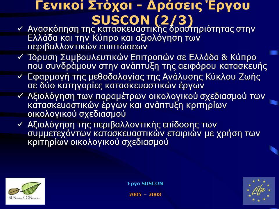 SUSCON Έργο SUSCON 2005 – 2008 Γενικοί Στόχοι - Δράσεις Έργου SUSCON (2/3)  Ανασκόπηση της κατασκευαστικής δραστηριότητας στην Ελλάδα και την Κύπρο και αξιολόγηση των περιβαλλοντικών επιπτώσεων  Ίδρυση Συμβουλευτικών Επιτροπών σε Ελλάδα & Κύπρο που συνδράμουν στην ανάπτυξη της αειφόρου κατασκευής  Εφαρμογή της μεθοδολογίας της Ανάλυσης Κύκλου Ζωής σε δύο κατηγορίες κατασκευαστικών έργων  Αξιολόγηση των παραμέτρων οικολογικού σχεδιασμού των κατασκευαστικών έργων και ανάπτυξη κριτηρίων οικολογικού σχεδιασμού  Αξιολόγηση της περιβαλλοντικής επίδοσης των συμμετεχόντων κατασκευαστικών εταιριών με χρήση των κριτηρίων οικολογικού σχεδιασμού