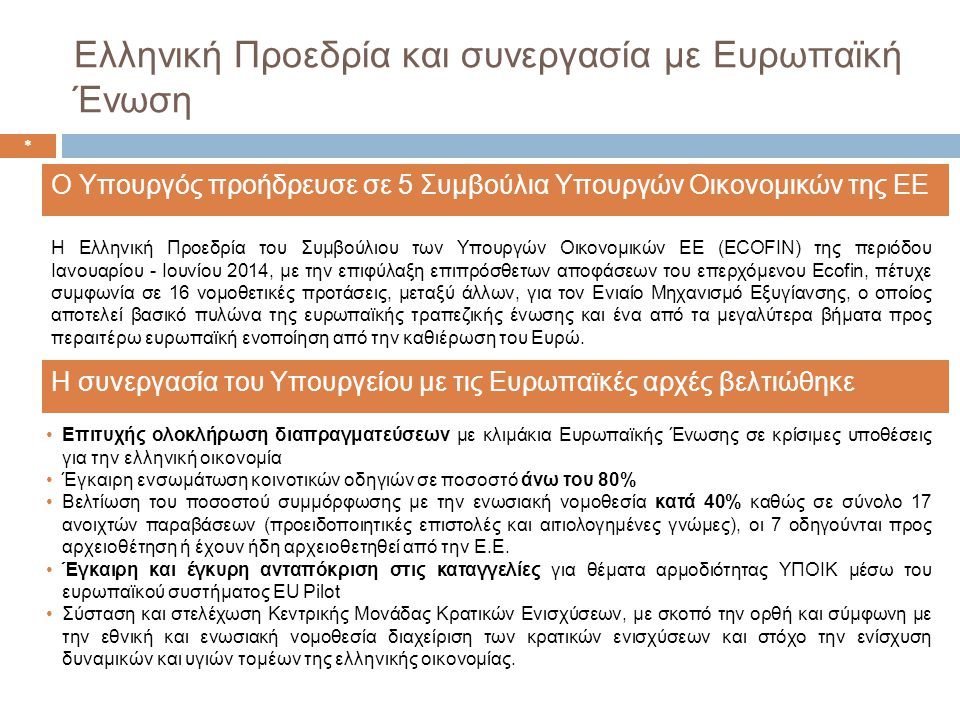 Ελληνική Προεδρία και συνεργασία με Ευρωπαϊκή Ένωση •Επιτυχής ολοκλήρωση διαπραγματεύσεων με κλιμάκια Ευρωπαϊκής Ένωσης σε κρίσιμες υποθέσεις για την ελληνική οικονομία •Έγκαιρη ενσωμάτωση κοινοτικών οδηγιών σε ποσοστό άνω του 80% •Βελτίωση του ποσοστού συμμόρφωσης με την ενωσιακή νομοθεσία κατά 40% καθώς σε σύνολο 17 ανοιχτών παραβάσεων (προειδοποιητικές επιστολές και αιτιολογημένες γνώμες), οι 7 οδηγούνται προς αρχειοθέτηση ή έχουν ήδη αρχειοθετηθεί από την Ε.Ε.
