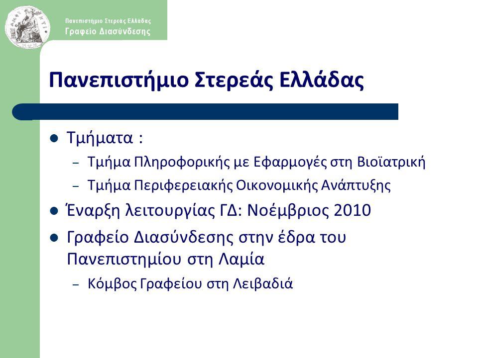 Πανεπιστήμιο Στερεάς Ελλάδας  Τμήματα : – Τμήμα Πληροφορικής με Εφαρμογές στη Βιοϊατρική – Τμήμα Περιφερειακής Οικονομικής Ανάπτυξης  Έναρξη λειτουρ