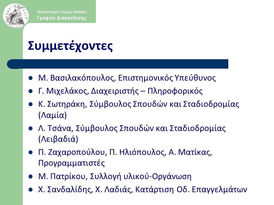 Συμμετέχοντες  Μ. Βασιλακόπουλος, Επιστημονικός Υπεύθυνος  Γ. Μιχελάκος, Διαχειριστής – Πληροφορικός  Κ. Σωτηράκη, Σύμβουλος Σπουδών και Σταδιοδρομ