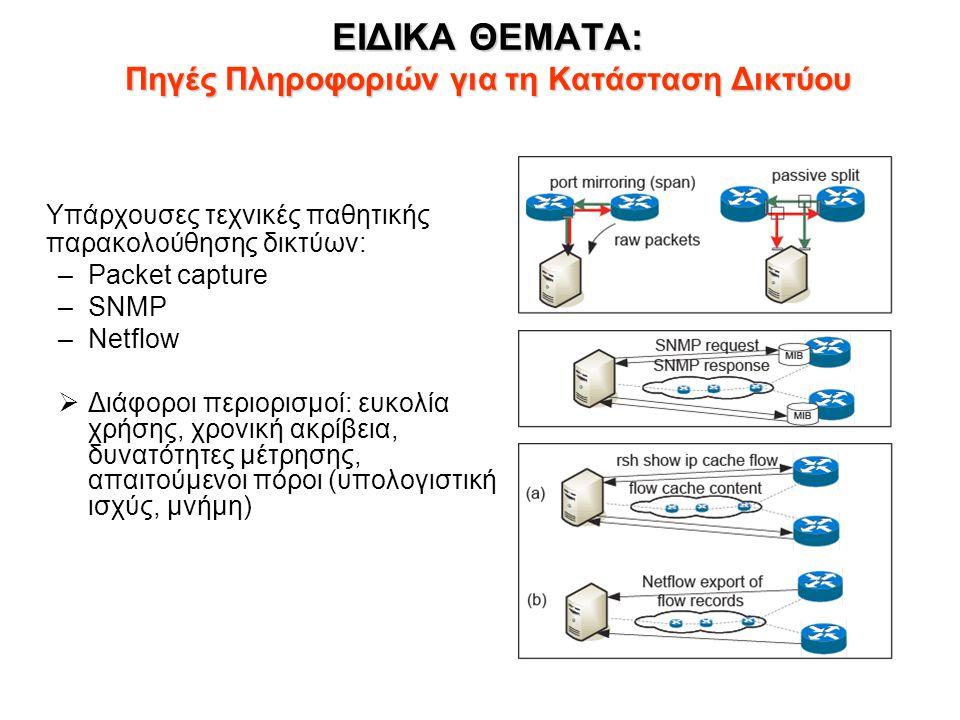 ΕΙΔΙΚΑ ΘΕΜΑΤΑ: Πηγές Πληροφοριών για τη Κατάσταση Δικτύου Υπάρχουσες τεχνικές παθητικής παρακολούθησης δικτύων: –Packet capture –SNMP –Netflow  Διάφο
