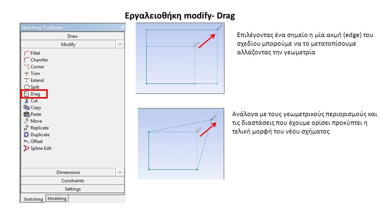 Εργαλειοθήκη modify- Drag Επιλέγοντας ένα σημείο η μία ακμή (edge) του σχεδίου μπορούμε να το μετατοπίσουμε αλλάζοντας την γεωμετρία Ανάλογα με τους γ