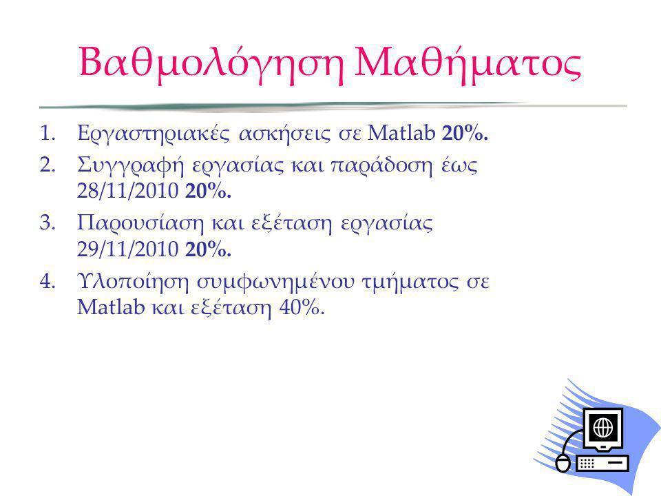 Βαθμολόγηση Μαθήματος 1.Εργαστηριακές ασκήσεις σε Matlab 20%. 2.Συγγραφή εργασίας και παράδοση έως 28/11/2010 20%. 3.Παρουσίαση και εξέταση εργασίας 2