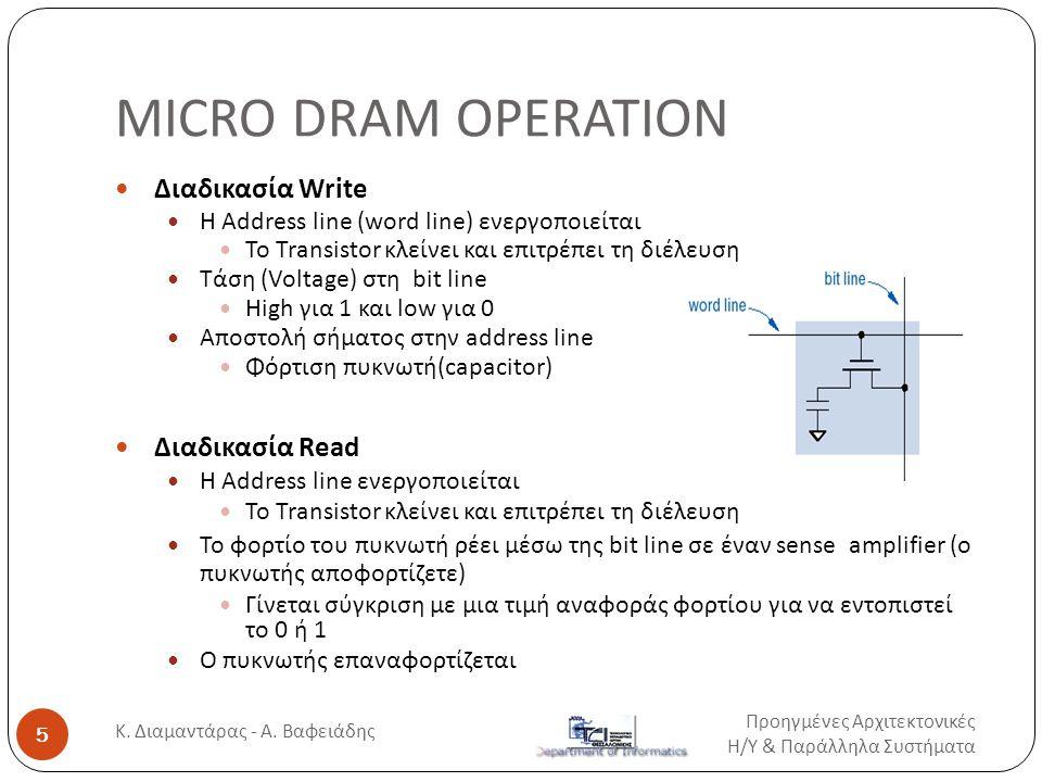 Τεχνολογίες Μνήμης (SRAM)  SRAM (Static Random Access Memory)  Οι πληροφορίες χάνονται με την διακοπή της τροφοδοσίας (volatile)  Τα bits αποθηκεύονται σαν on/off διακόπτες  Ψηφιακή αποθήκευση με χρήση Flip-flop  Δεν απαιτούν συνεχή ανανέωση της πληροφορίας  Σύνθετη κατασκευή  Μεγάλος όγκος του βασικού στοιχείου  Μεγάλο κόστος  Γρήγορες (μικρός χρόνος προσπέλασης)  Χρησιμοποιούνται σαν κρυφές μνήμες (cache) Προηγμένες Αρχιτεκτονικές Η / Υ & Παράλληλα Συστήματα 16 Κ.