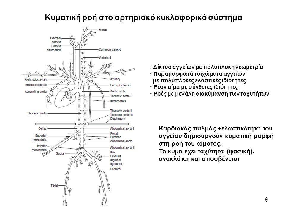 Κυματική ροή στο αρτηριακό κυκλοφορικό σύστημα 9 • Δίκτυο αγγείων με πολύπλοκη γεωμετρία • Παραμορφωτά τοιχώματα αγγείων με πολύπλοκες ελαστικές ιδιότητες • Ρέον αίμα με σύνθετες ιδιότητες • Ροές με μεγάλη διακύμανση των ταχυτήτων Καρδιακός παλμός +ελαστικότητα του αγγείου δημιουργούν κυματική μορφή στη ροή του αίματος.