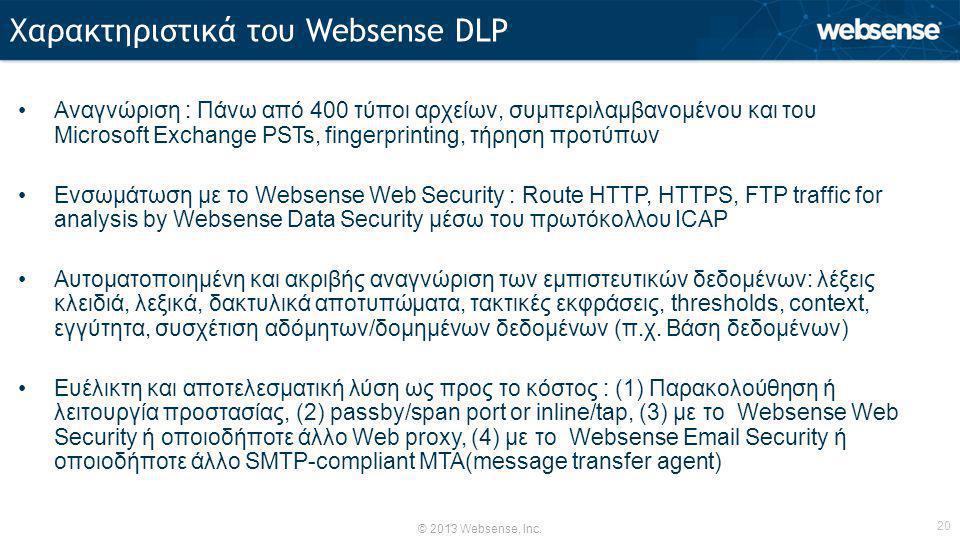 © 2013 Websense, Inc. 20 •Αναγνώριση : Πάνω από 400 τύποι αρχείων, συμπεριλαμβανομένου και του Microsoft Exchange PSTs, fingerprinting, τήρηση προτύπω