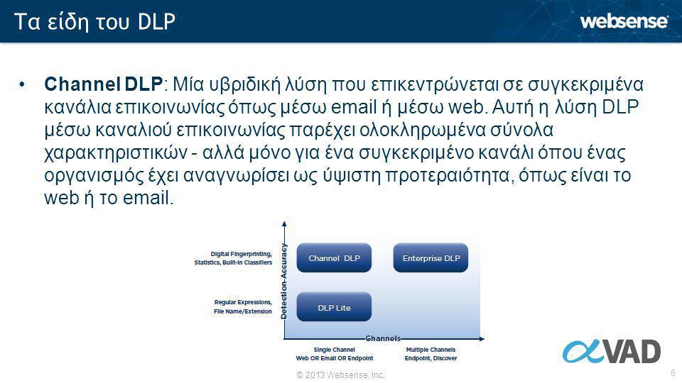 © 2013 Websense, Inc. 6 •Channel DLP: Μία υβριδική λύση που επικεντρώνεται σε συγκεκριμένα κανάλια επικοινωνίας όπως μέσω email ή μέσω web. Αυτή η λύσ