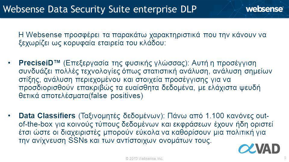 © 2013 Websense, Inc. 9 Η Websense προσφέρει τα παρακάτω χαρακτηριστικά που την κάνουν να ξεχωρίζει ως κορυφαία εταιρεία του κλάδου: •PreciseiD™ (Επεξ