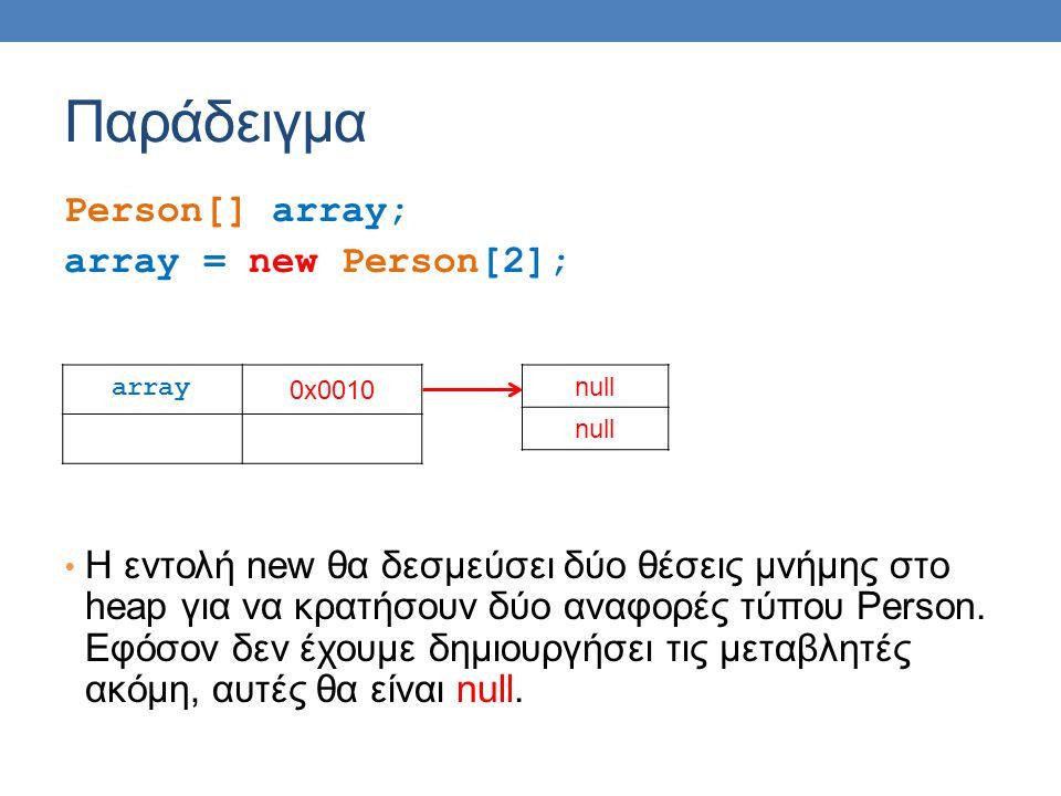 Παράδειγμα Person[] array; array = new Person[2]; • H εντολή new θα δεσμεύσει δύο θέσεις μνήμης στο heap για να κρατήσουν δύο αναφορές τύπου Person.