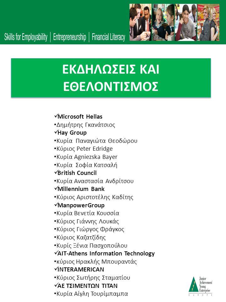 ΕΚΔΗΛΩΣΕΙΣ ΚΑΙ ΕΘΕΛΟΝΤΙΣΜΟΣ  Microsoft Hellas • Δημήτρης Γκανάτσιος  Hay Group • Κυρία Παναγιώτα Θεοδώρου • Κύριος Peter Edridge • Κυρία Agniezska B