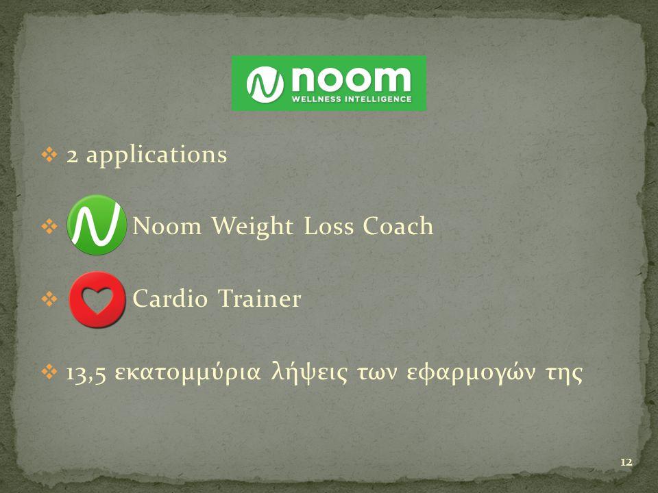  2 applications  Noom Weight Loss Coach  Cardio Trainer  13,5 εκατομμύρια λήψεις των εφαρμογών της 12