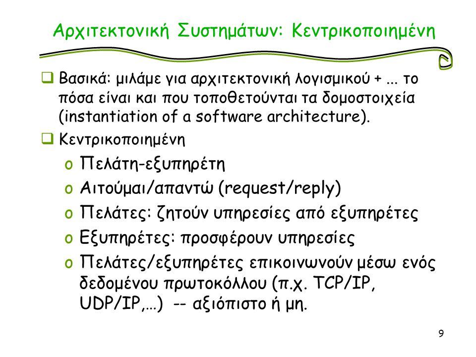 Αρχιτεκτονική Συστημάτων: Κεντρικοποιημένη  Διαστρωμάτωση εφαρμογών (application layering) oΛογικά στρώματα υπηρεσιών/λειτουργικότητας oΑνατεθημένα σε πελάτες/εξυπηρέτες oΔιαχωρισμός εννοιών πελάτη/εξυπηρέτη ;  Διαχωρισμός λειτουργικότητας σε 3 επίπεδα: oΔιεπαφή με το χρήστη (user interface level) oΚύριο σώμα εφαρμογήςεπεξεργασίας ερωτημάτων χρήστη/πελάτη (processing level) oΕπίπεδο δεδομένων/πληροφορίας (data level) 10