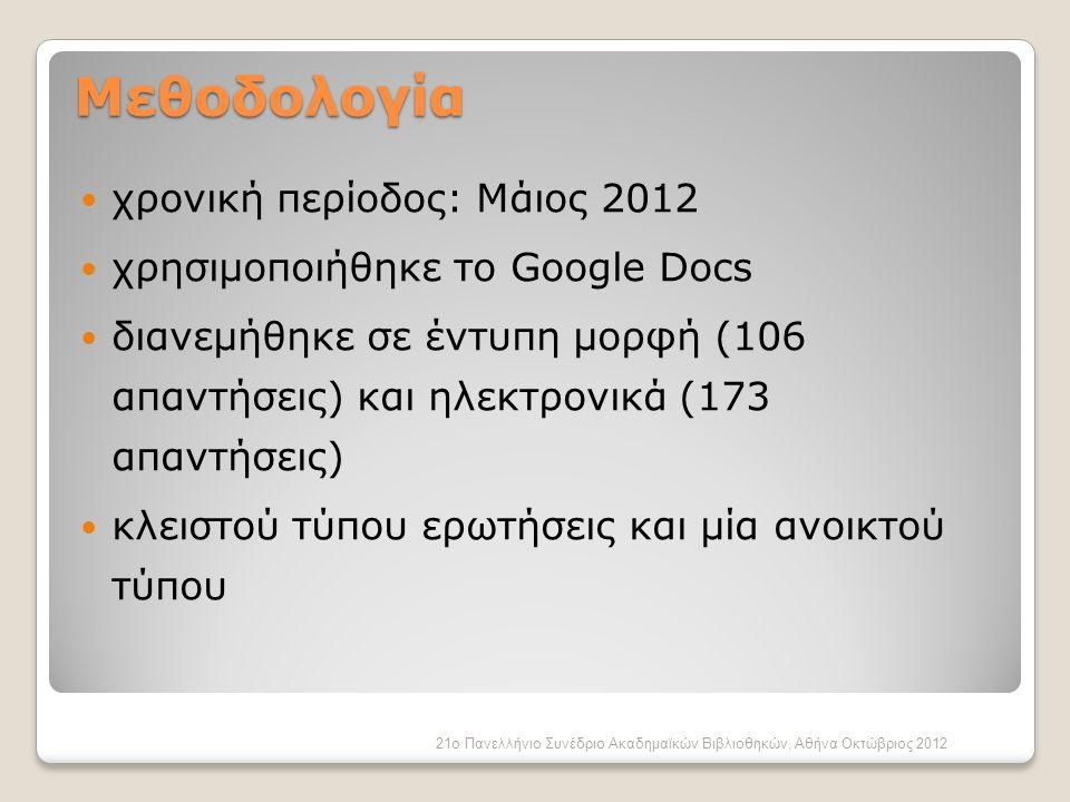 Μεθοδολογία  χρονική περίοδος: Μάιος 2012  χρησιμοποιήθηκε το Google Docs  διανεμήθηκε σε έντυπη μορφή (106 απαντήσεις) και ηλεκτρονικά (173 απαντήσεις)  κλειστού τύπου ερωτήσεις και μία ανοικτού τύπου 21ο Πανελλήνιο Συνέδριο Ακαδημαϊκών Βιβλιοθηκών, Αθήνα Οκτώβριος 2012