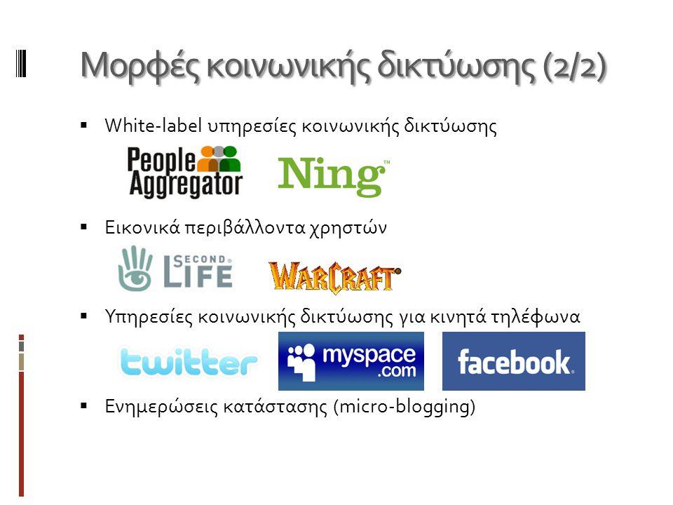 Μορφές κοινωνικής δικτύωσης (2/2)  White-label υπηρεσίες κοινωνικής δικτύωσης  Εικονικά περιβάλλοντα χρηστών  Υπηρεσίες κοινωνικής δικτύωσης για κινητά τηλέφωνα  Ενημερώσεις κατάστασης (micro-blogging)