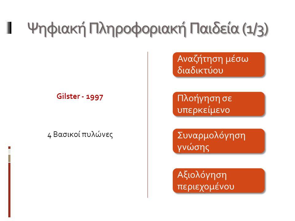 Ψηφιακή Πληροφοριακή Παιδεία (1/3) Gilster - 1997 4 Βασικοί πυλώνες Αναζήτηση μέσω διαδικτύου Πλοήγηση σε υπερκείμενο Συναρμολόγηση γνώσης Αξιολόγηση περιεχομένου