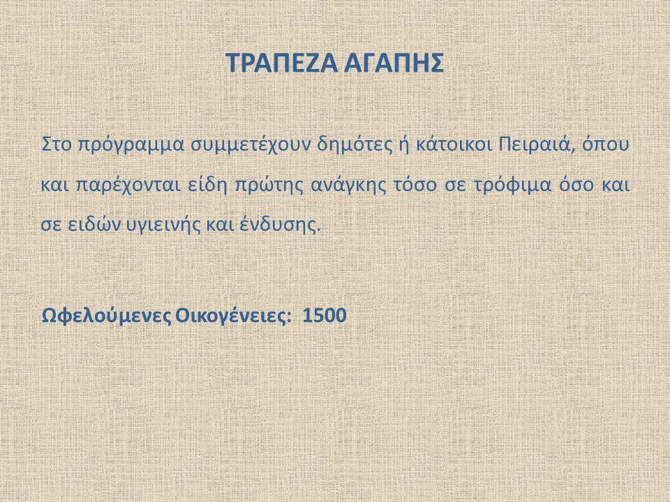 ΣΥΣΣΙΤΙΑ  Σίτιση σε καθημερινή βάση 100 ατόμων με τη συνδρομή εθελοντριών νοικοκυρών οι οποίες προετοιμάζουν σπιτικό ελληνικό φαγητό.