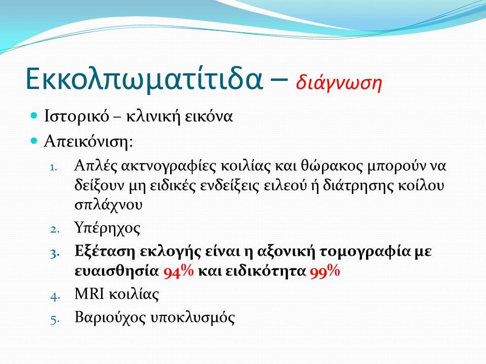 Εκκολπωματίτιδα – διάγνωση  Ιστορικό – κλινική εικόνα  Απεικόνιση: 1. Απλές ακτνογραφίες κοιλίας και θώρακος μπορούν να δείξουν μη ειδικές ενδείξεις