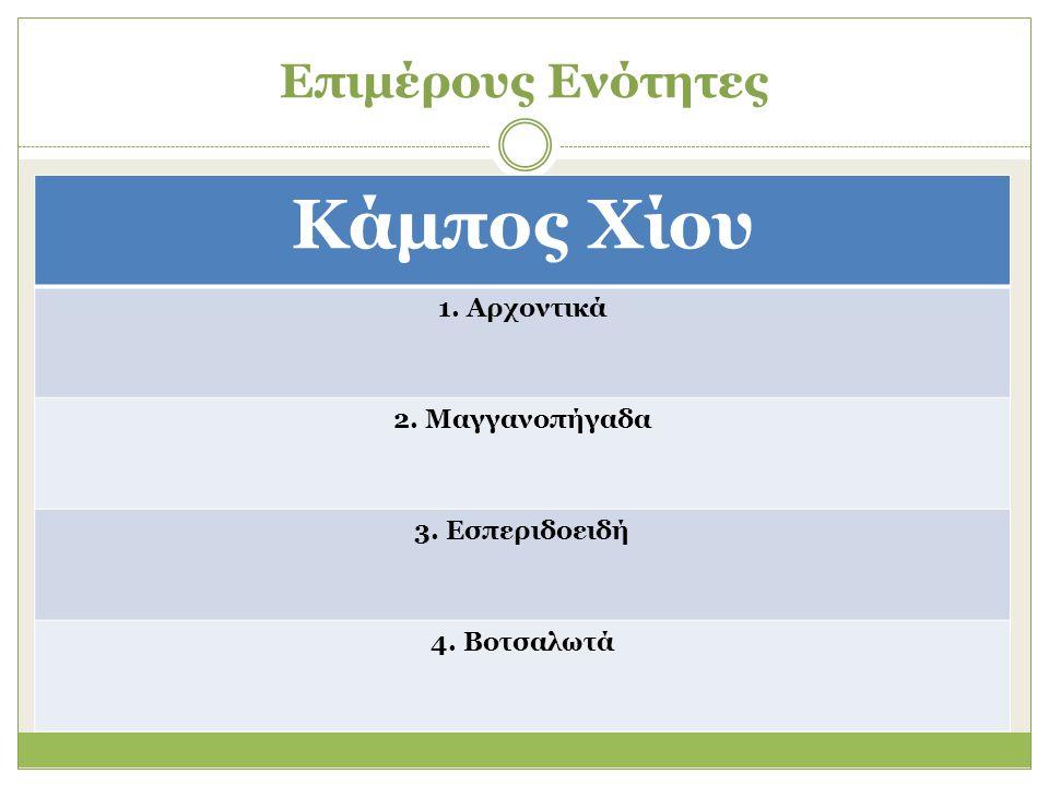 Επιμέρους Ενότητες Κάμπος Χίου 1. Αρχοντικά 2. Μαγγανοπήγαδα 3. Εσπεριδοειδή 4. Βοτσαλωτά