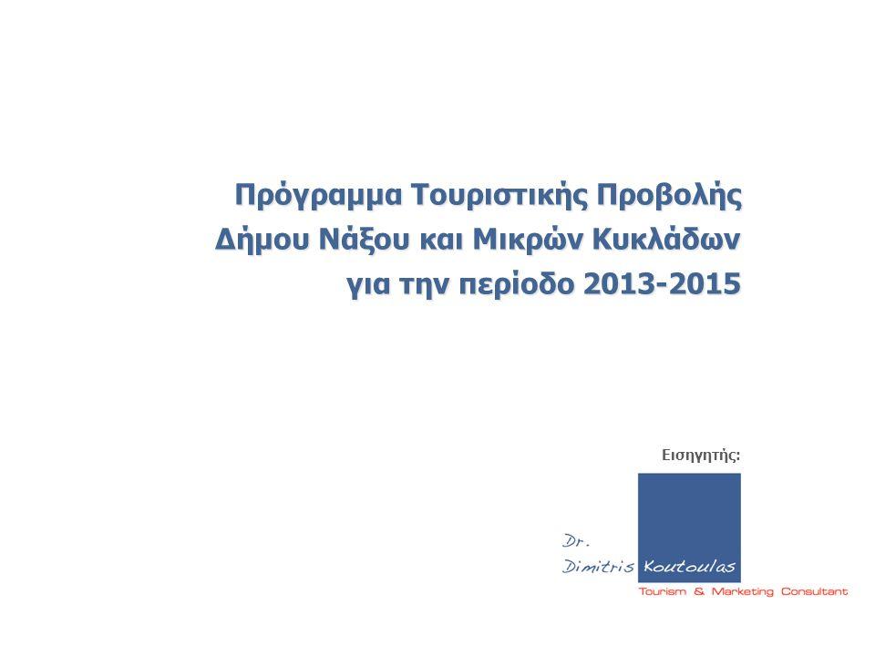 Πρόγραμμα Τουριστικής Προβολής Δήμου Νάξου και Μικρών Κυκλάδων για την περίοδο 2013-2015 Εισηγητής: